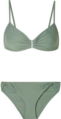Dion Lee Embellished Ruched Bikini - Gray green
