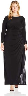 Adrianna Papell Women's Plus Size Venecian Jersey Draped Gown with Long Sleeves