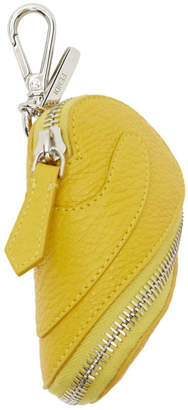Fendi Yellow Zip Around Pouch Keychain