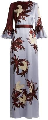 Erdem Linzea silk-satin Agar Bird-print gown