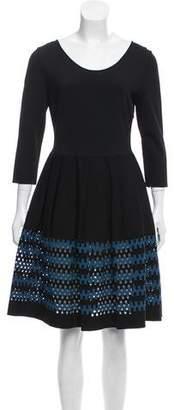 Fendi Fit & Flare Open Knit Dress