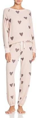 Honeydew Heart Print Pajama Set