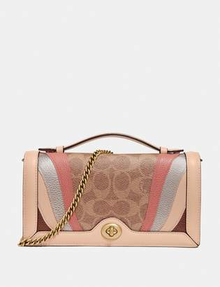 Coach Riley Chain Clutch In Signature Canvas With Wave Patchwork