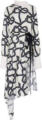 Monse Rope Print Pleated Silk Shirt Dress