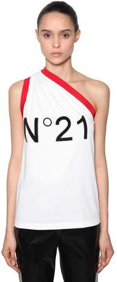N°21 Logo Flocked One Shoulder Cotton Top