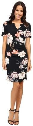 Adrianna Papell Pleat Detail Printed Sheath Dress Women's Dress