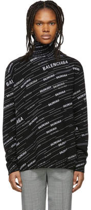 Balenciaga Black Wool Jacquard Turtleneck