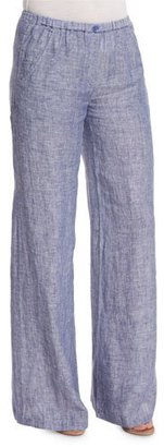 NIC+ZOE Drifty Linen Wide-Leg Pants, Indigo Mix $148 thestylecure.com