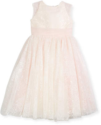 Joan Calabrese Sequin Tulle Special Occasion Dress, Ivory, Size 4-14