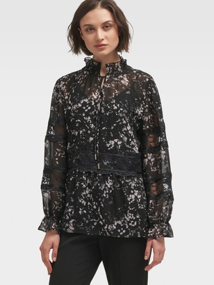 DKNY High-Neck Top With Lace Panels