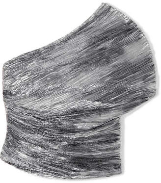 Rosie Assoulin Cocoon One-shoulder Plissé-lamé Top - Silver