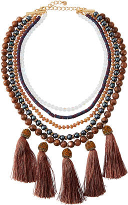 Lydell NYC Beaded Multi-Drop Necklace