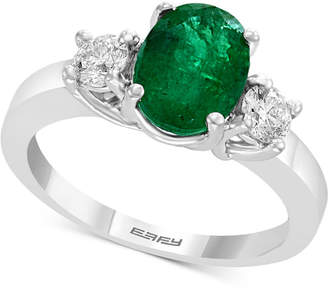 Effy Gemstone Bridal by Emerald (1-1/2 ct. t.w.) & Diamond (3/8 ct. t.w.) Engagement Ring in 18k White Gold