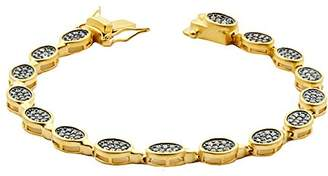 Freida Rothman Women's 14ct Gold Plated Sterling Silver Contemporary Deco Oval Pave Bracelet19.05