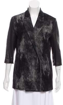 Alexander Wang Leather Paneled Virgin Wool Blazer
