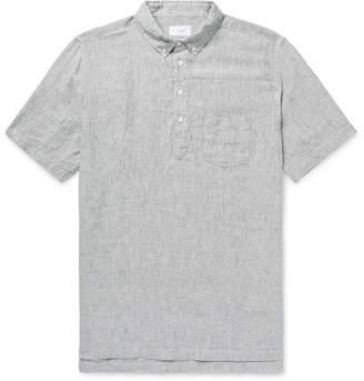 Onia Josh Button-Down Collar Striped Slub Linen Half-Placket Shirt