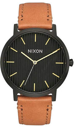 Nixon Porter Black Analog Leather Strap Watch