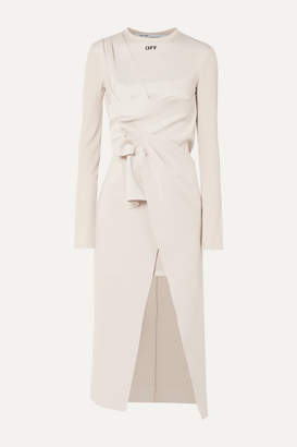 Off-White Asymmetric Stretch-jersey Midi Dress - Beige