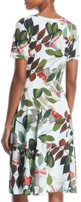 Melissa Masse Short-Sleeve Fit-and-Flare Dress