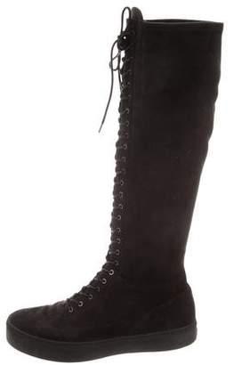 Stuart Weitzman Knee-High Lace-Up Boots