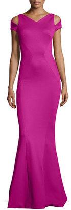 Zac Posen Cold-Shoulder V-Neck Mermaid Gown, Magenta $2,590 thestylecure.com