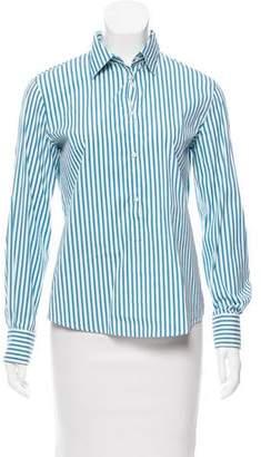 Loro Piana Striped Pointed Collar Top