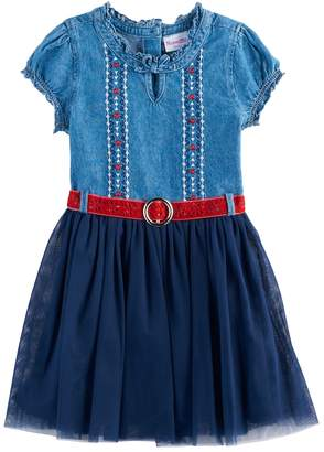 Nannette Girls 4-6x Belted Denim & Tulle Dress