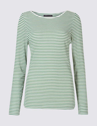 Marks & Spencer Cotton Blend Striped Long Sleeve Top - - 6 Clearance Store For Sale Buy Cheap Store Online Sale Reliable Cheap Price uJTMdzz