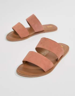 Asos Design DESIGN Fontana leather sliders