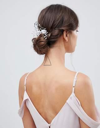 Asos DESIGN Bridal Pearl And Crystal Spray Hair Comb
