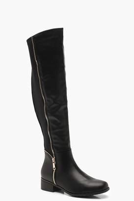 boohoo Stretch Back Zip Detail Flat Knee High Boots
