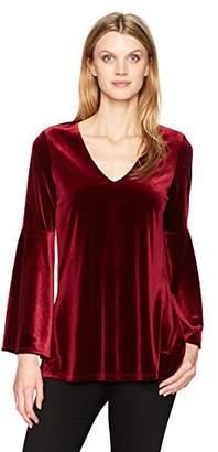 Karen Kane Women's Velvet Bell Sleeve V-Neck Top