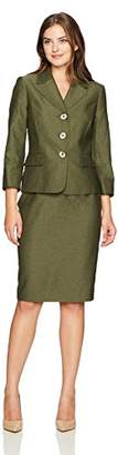 Le Suit Women's Two Tone Melange 3 Button Skirt Suit