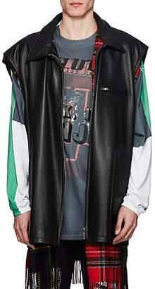 Vetements Men's Reversible Leather & Flannel Oversized Vest - Black