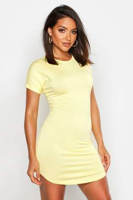 boohoo Basic Curved Hem T-Shirt Dress