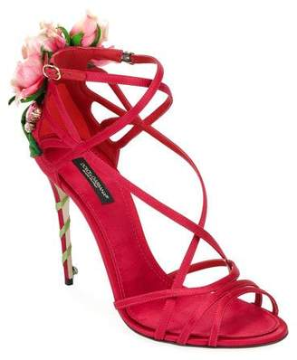 Dolce & Gabbana Jeweled Satin Sandal with Rose Heel