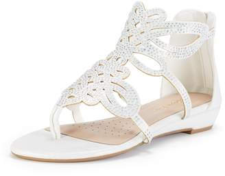 28e69115c978 DREAM PAIRS Women s Jewel 08 Gold Fashion Rhinestones Design Ankle Strap  Flat Sandals
