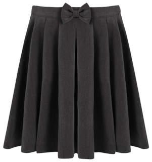 George Girls Grey School Bow Detail Skater Skirt
