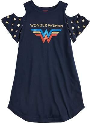 Girls 4-12 DC Comics Wonder Woman Cold Shoulder Knee-Length Dorm Nightgown