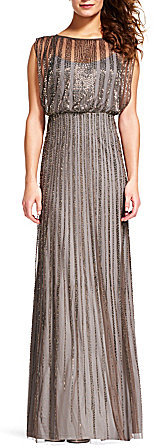 Adrianna Papell Adrianna Papell Beaded Boat Neck Cap Sleeve Blouson Gown
