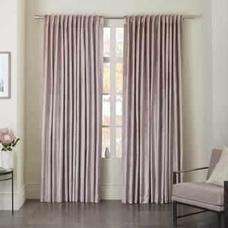west elm Cotton Luster Velvet Curtain - Dusty Blush