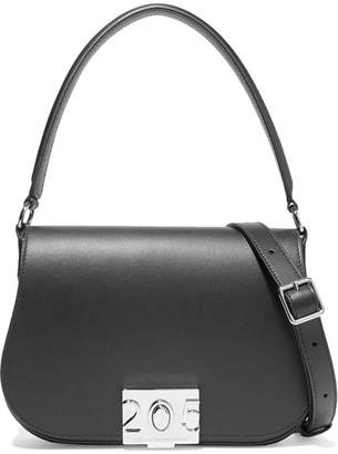 Calvin Klein Bonnie Grosgrain-trimmed Leather Shoulder Bag - Black