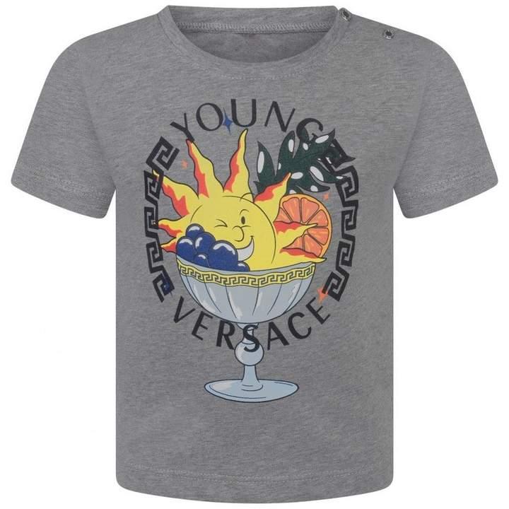 Young VERSACEBaby Boys Grey Dessert Print Top