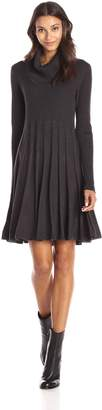 Calvin Klein Women's Long Sleeve Cowl Neck Printed Fit and Flare Sweater Dress, Black/White