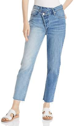 Blank NYC BLANKNYC Asymmetric Two-Tone Cropped Straight-Leg Jeans in Showstopper