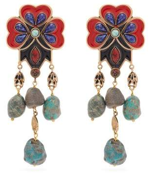 Etro Flower Bead Earrings - Womens - Red