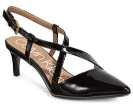 Calvin Klein Patent Leather Criss-Cross Strappy Pumps