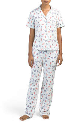 Bird Notch Collar Pajama Set