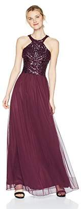 Speechless Junior's Full-Length Dress with Sequin Bodice and Cut in Neckline (Junior's)
