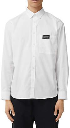 Burberry Men's Rubber Logo Patch Oxford Shirt